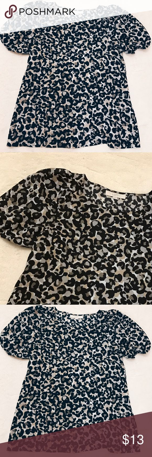 Cheetah print Loft dress shirt Really cute cheetah print shirt from the Loft. The sleeves are really cute! In pretty good condition. LOFT Tops