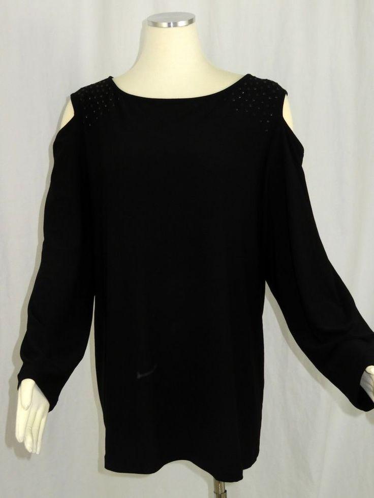 Susan Graver Size 3x Top Black Cold Shoulder Liquid Knit Rhinestones