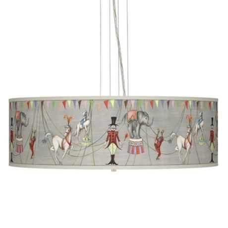 """Circus Time Giclee 24"""" Wide 4-Light Pendant Chandelier - playroom"""