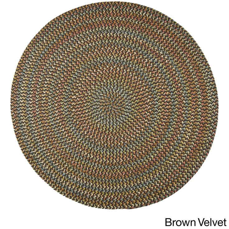 Cozy Cove Indoor/Outdoor Round Braided Rug (4' x 4') by Rhody Rug (Brown Velvet), Size 4' x 4' (Nylon, Border)
