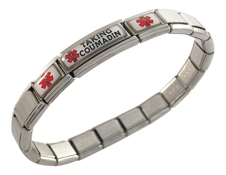 Taking Coumadin Blood Thinners Medical ID Alert Italian Charm Bracelet *** Click image to review more details.