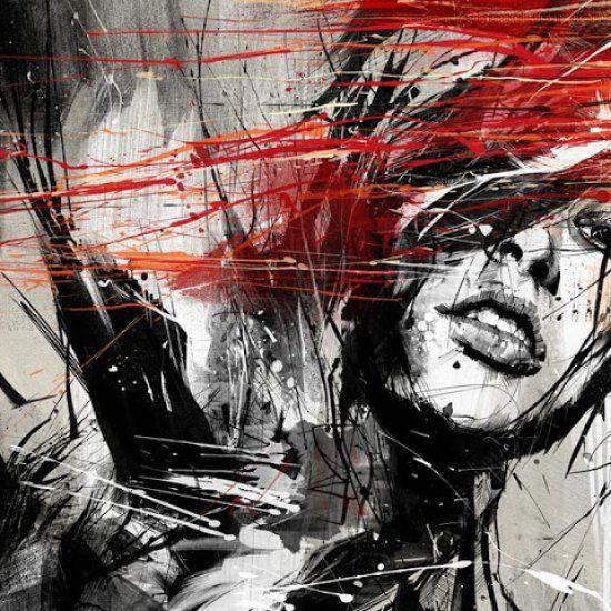 RUSS MILLS  L'utilisation de lignes et d'éclaboussures, du noir, du blanc ou du rouge sang renforcent le côté torturé, brutal mais intense de ses portraits.  Ses œuvres combinent art traditionnel ( peinture, dessin ) et numérique ( photographie, photoshop ) pour un rendu qui ne manque certainement pas d'expressivité!  Une énergie explosive et un univers bien particulier pour un artiste talentueux!
