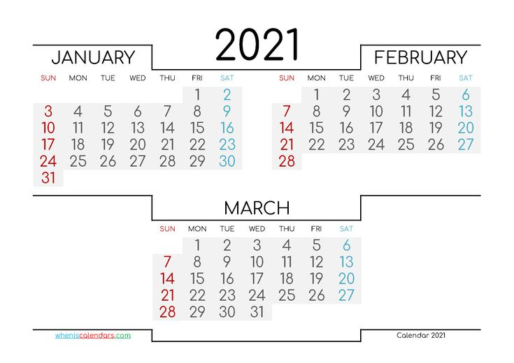 January February March 2021 Printable Calendar in 2020 ...