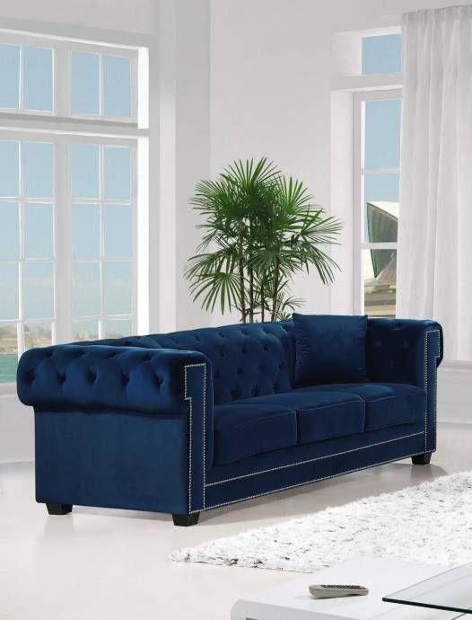 Meridian 614 Bowery Navy Velvet Living Room Sofa Contemporary Modern