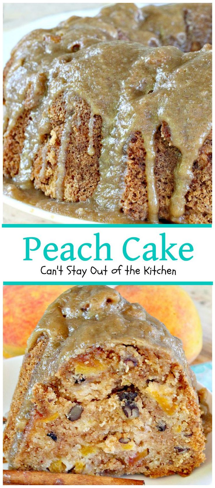 Peach Cake | Can't Stay Out of the Kitchen | spectacular #cake made with #peaches and #pecans. This one has a scrumptious brown sugar glaze.