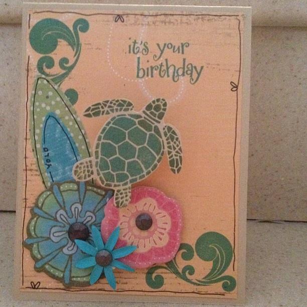 Sea turtle card created by Tina Sutton, www.missgingerdots.com