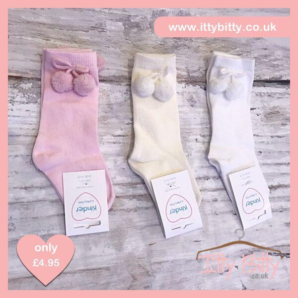 Itty Bitty Knee Length Pom Pom Socks - Baby Boutique Shop