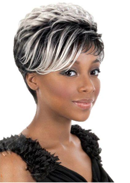 Racines noires blanc faits saillants perruque pour les femmes noires droite résistant à la chaleur synthétique afro-américaine cheveux perruques Peruca Preta(China (Mainland))