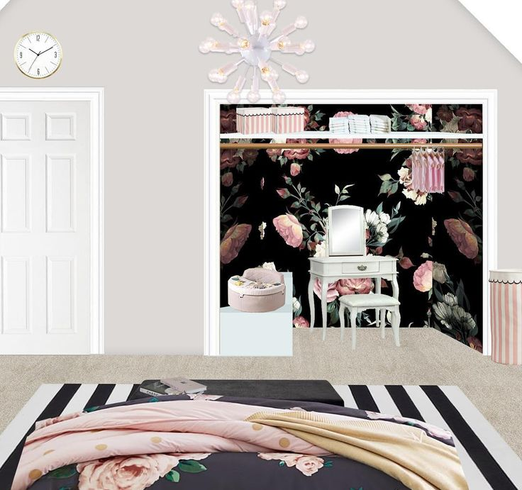 Part 2 of the bedroom redesign!  The closet gets a makeover with a fun wallpaper and tons of storage for playing dolls and putting on makeup!  . . . . #interiordesign #interiordesigner #inspo #inspiration #instalove #instagood #me #love #photoshop #photooftheday #rendering #edesign #decor #design #designer #decorate #hgtv #bedroom #bedroomgoals #preppy #glam #glamdesign #blackandwhite #style #styling