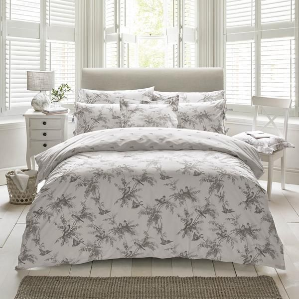 BANDED FLORAL BIRD YELLOW GREY KING SIZE COTTON BLEND REVERSIBLE DUVET COVER