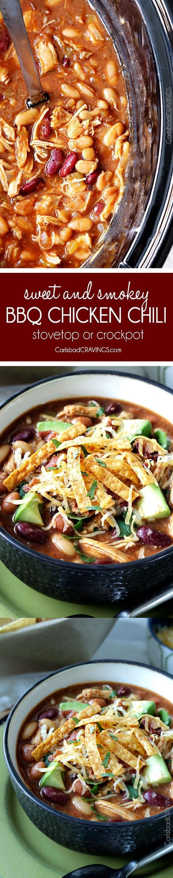 Smoky BBQ Chicken Chili (Slow Cooker or Stove Top