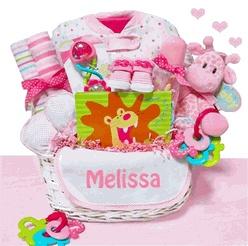Little Safari Jungle Theme Baby Girl Gift Basket   http://www.storkbabygiftbaskets.com/little-safari-girl-baby-gift-basket.html  $99.95