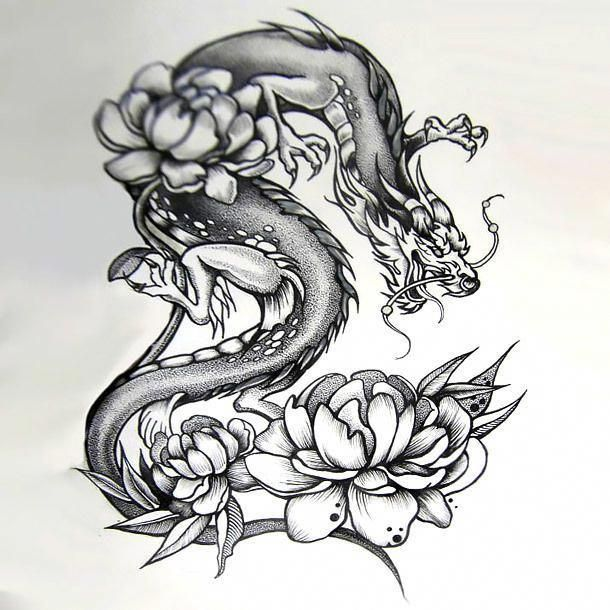 An Amazing Dotwork Tattoo Sketch Of A Japanese Dragon Around Peony Flowers Great Tattoo Idea For Dragon Tattoo Dragon Tattoo Designs Tattoos For Women Flowers