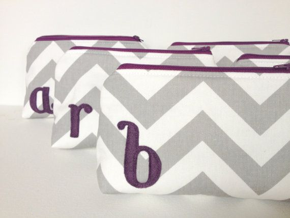 Bridal Set of Six Plum & Grey Monogrammed Makeup Bags, Gray Chevron Eggplant Purple Letter, Bridesmaids Gift Wedding Party Fall Autumn Favor on Etsy, $180.00