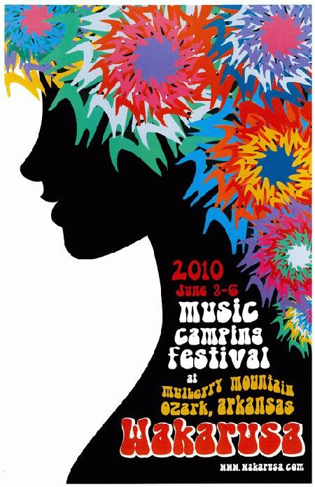 Festival poster for Wakarusa Music Festival in Ozark, Arkansas in 2010.