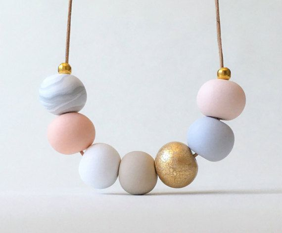 Pink and gold necklace polymer clay by FinchcreationsStore on Etsy
