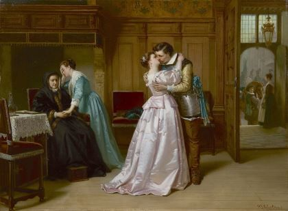 Hendrik Jacobus Scholten (1824-1907) The good-bye kiss, oil on panel. Collection Simonis & Buunk, The Netherlands