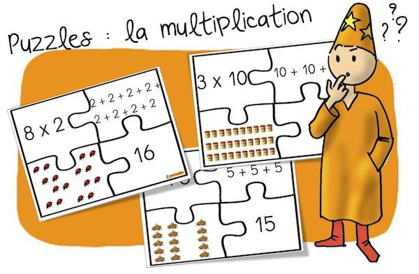 Jeu : Puzzles des multiplications ( additions réitérées) | Bout de Gomme
