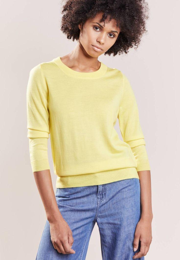J.CREW. TIPPI - Sweter - light citron. Materiał:100% wełna. długość:standardowa. Rodzaj dekoltu:okrągły. Wskazówki pielęgnacyjne:czyszczenie chemiczne. Długość rękawa:długi rękaw,58 cm w rozmiarze S. wzór:kolor jednolity. przezroczystoś...