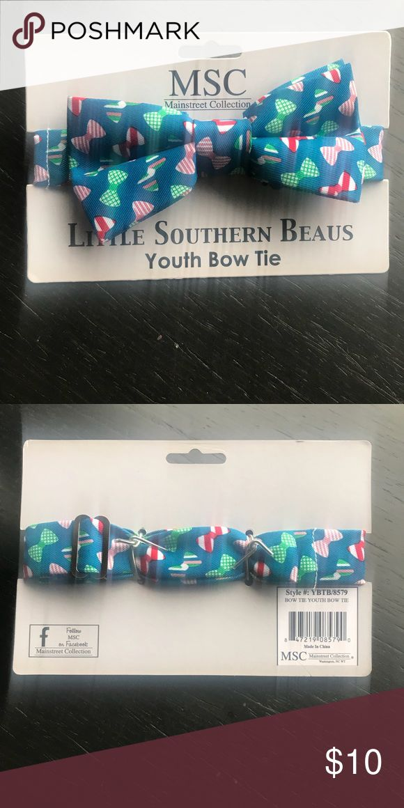 """Youth Bow Tie Perfect for the holidays! Multi-Colored """"Bow"""" print Little Southern Beaus Other"""