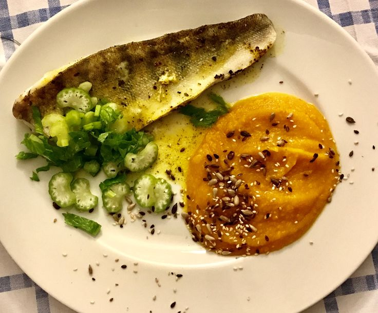 grilled cod fillet with pumpkin-celery puree
