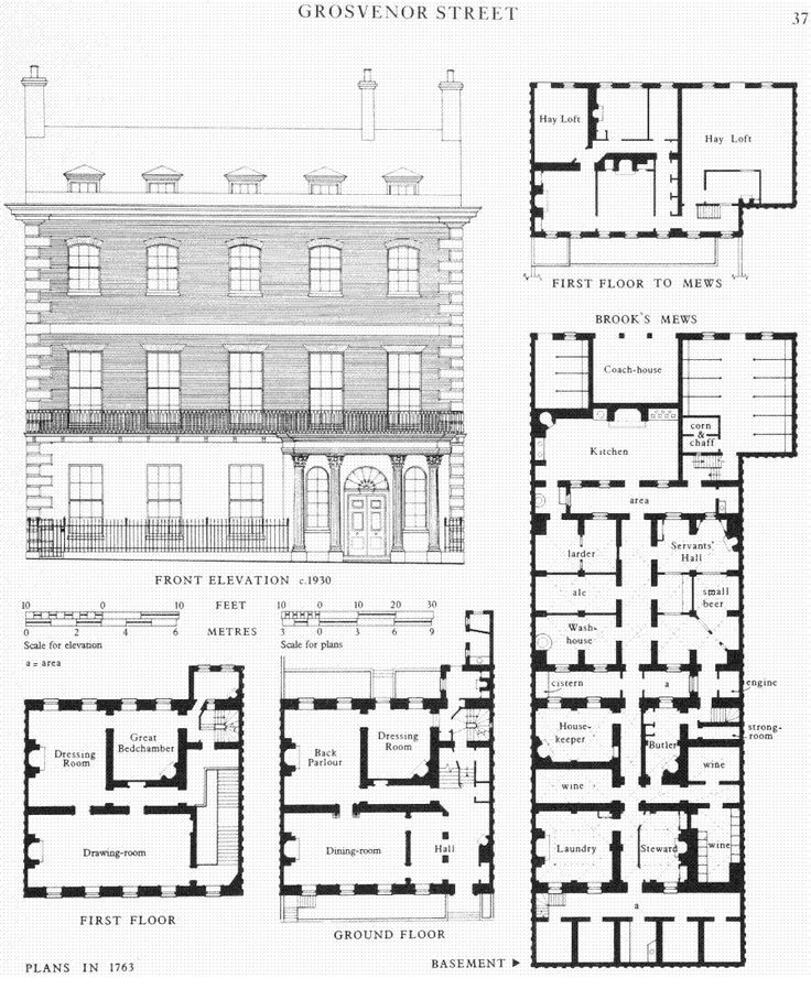 floor plan of a grosvenor street home 1763 interior