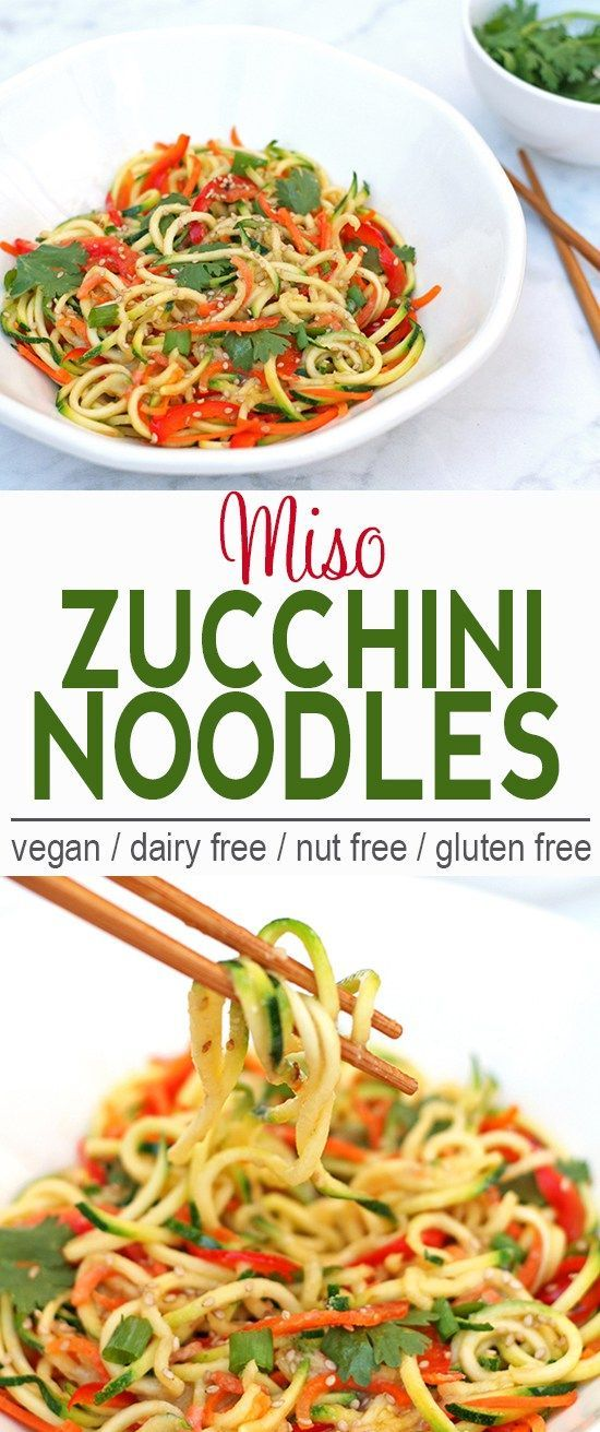 Miso Zucchini Noodles | Vegan, Dairy Free, Gluten Free | These Miso Zucchini Noodles are a great way to have noodles but keep cool this summer! | From @V_Nutrition | www.vnutritionandwellness.com
