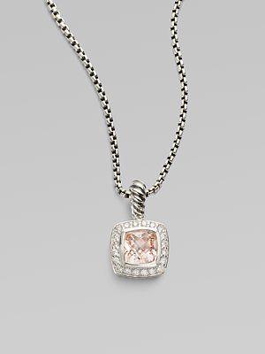 David Yurman Diamond, Morganite & Sterling Silver Necklace