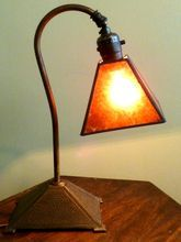 Signed Arts And Crafts Desk Lamp With Mica Shade