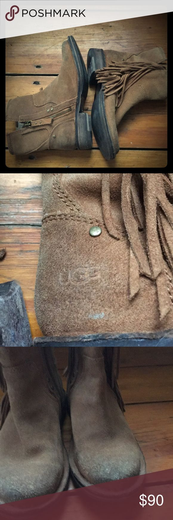 UGG suede fringe ankle bootie EUC bootie tag says EU size 36 UGG Shoes Ankle Boots & Booties