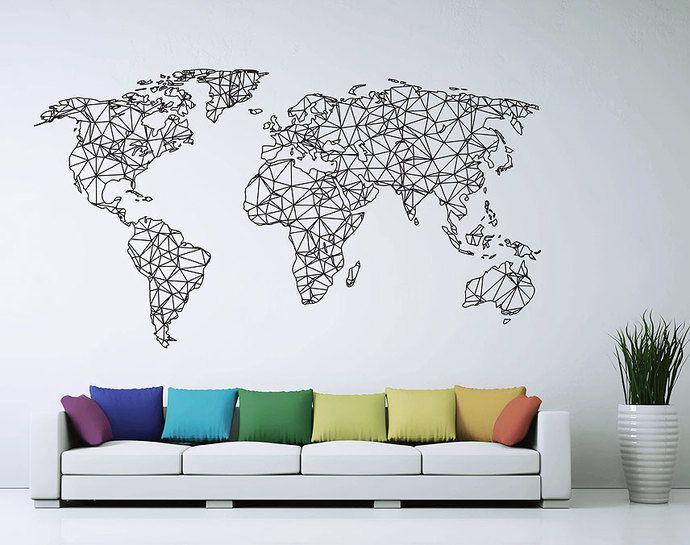Polygonal Geometrical World Map Sticker Vinyl Wall Decal