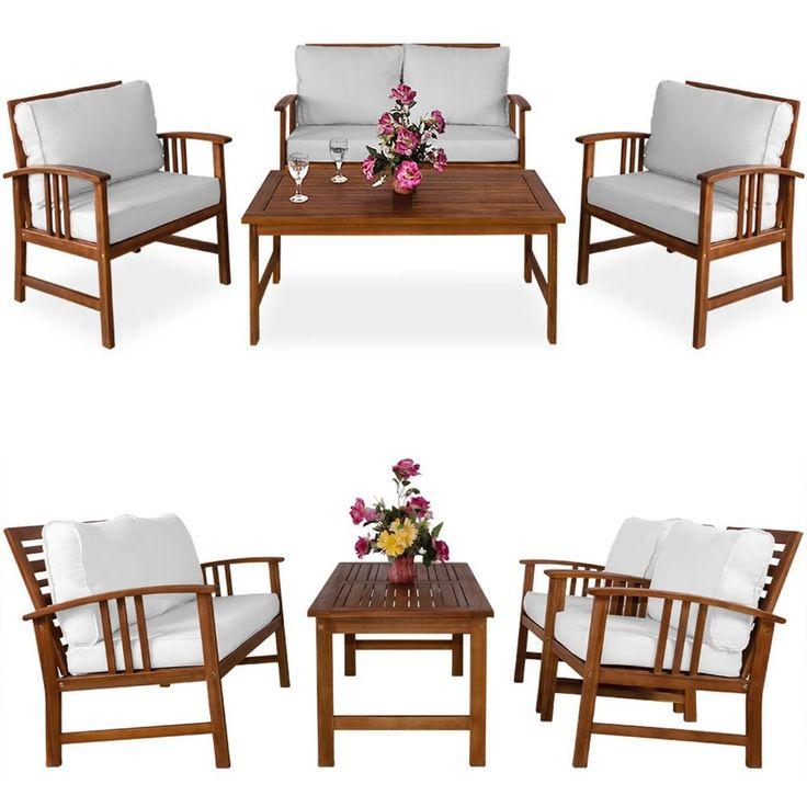 Wooden Garden Furniture Set Sofa Armchairs Table Cream Cushions Outdoor Patio  | eBay