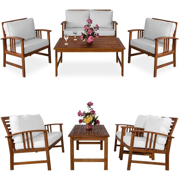 Details about Wooden Garden Furniture Set Sofa Armchairs Table Cream  Cushions Outdoor Patio