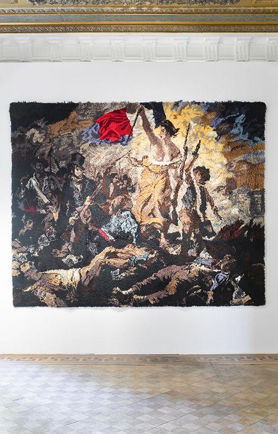 Kurt TREEBY - Liberty leading the People (Delacroix), 2009, wool carpet, long fiber, 260 x 325 x 4 cm, unique