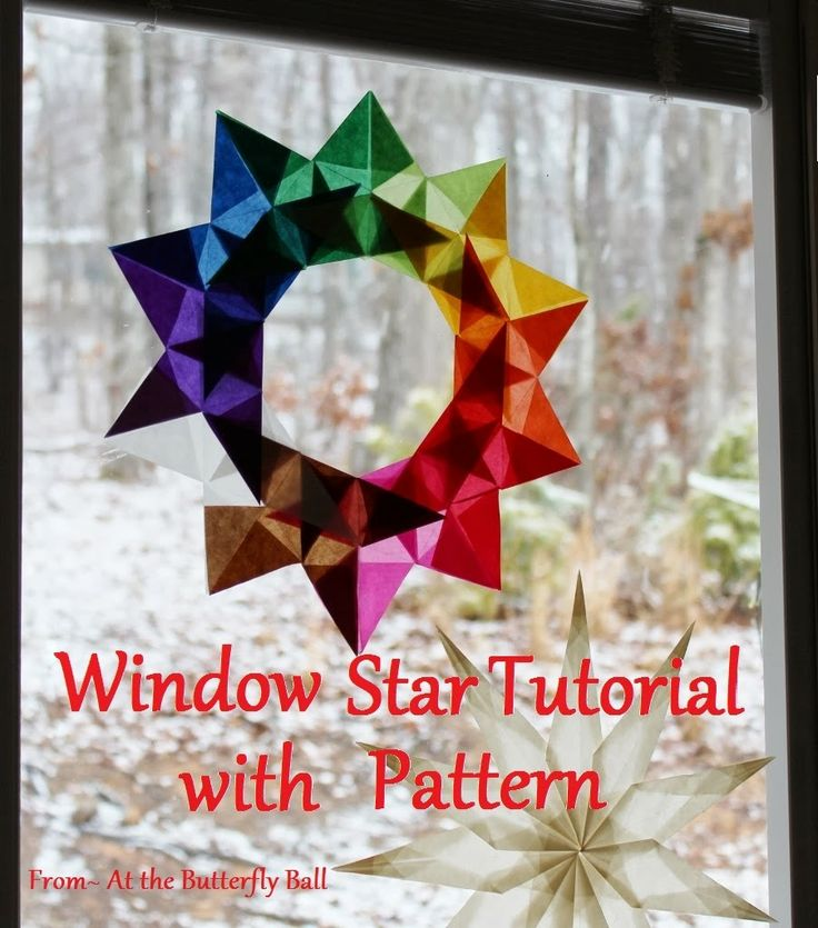 Beautiful classroom window art! At the Butterfly Ball: New Window Star Tutorial with printable pattern