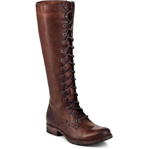 FRYE WOMEN'S Melissa Cognac Leather Tall Lace Up Boot (£345) ❤ liked on Polyvore featuring shoes, boots, knee-high boots, frye boots, knee high laced boots, cognac boots, leather sole boots and lace up boots