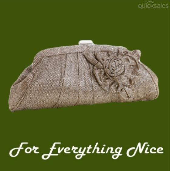 Beige Pleated Metallic Thread Floral Detail Evening Bag Bridal Purse by JRMB7339 - $120.00
