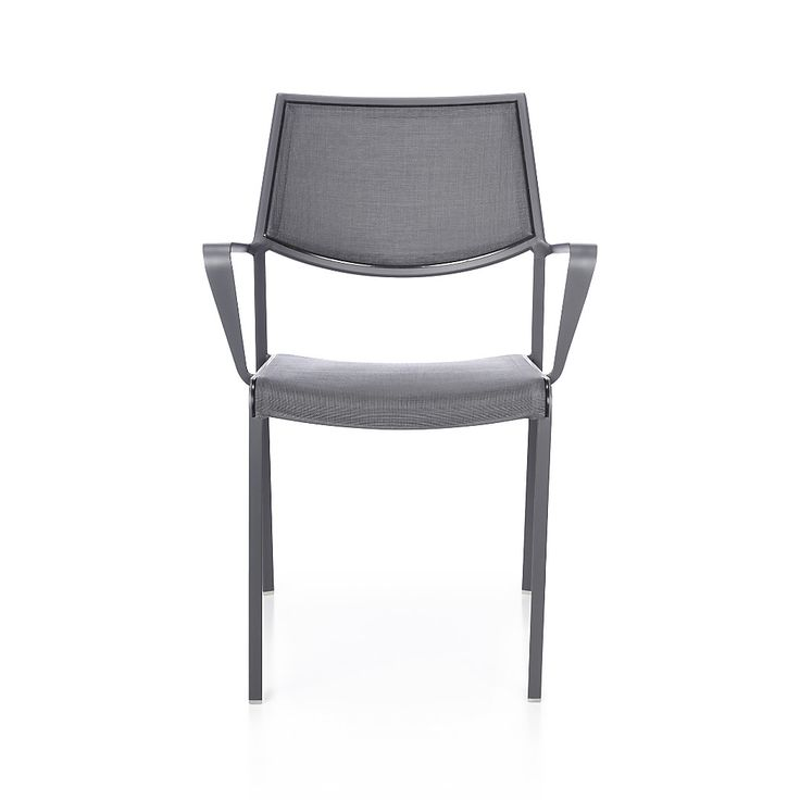Shop Largo Charcoal Grey Mesh Dining Chair.   The Largo outdoor dining chair is breezy and comfortable with a PVC-coated polyester mesh fabric seat and back in chic charcoal to match the powdercoated aluminum frame.