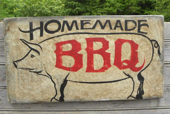 Bbq Restaurant Wall Decor : Farm sign smoked sausage original hand painted