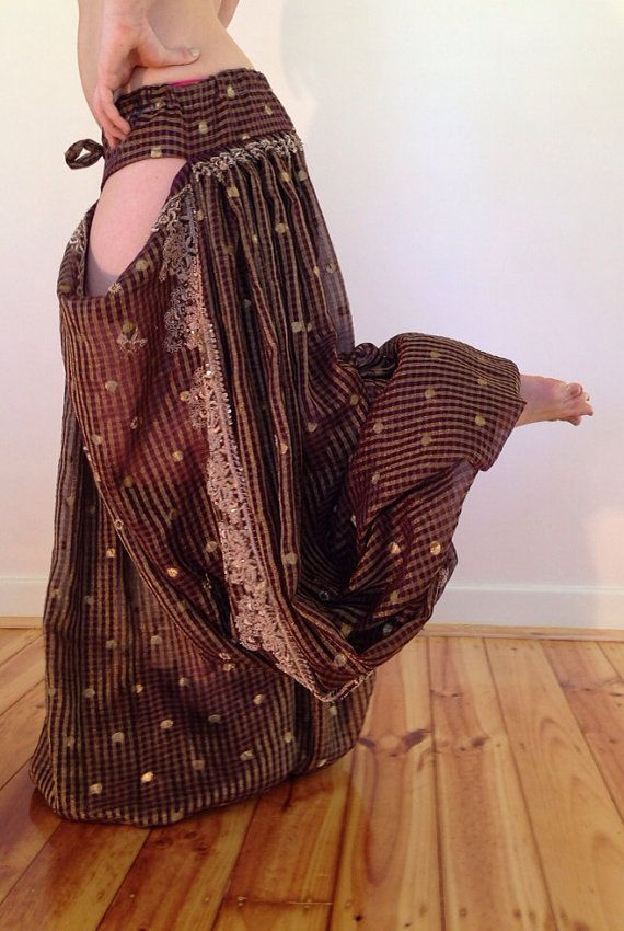 Vintage fabric 5yrd Pantaloons with cutouts for tribal or tribal fusion Bellydance