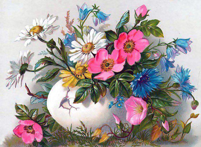 Открытка старая цветы, переливами телефон
