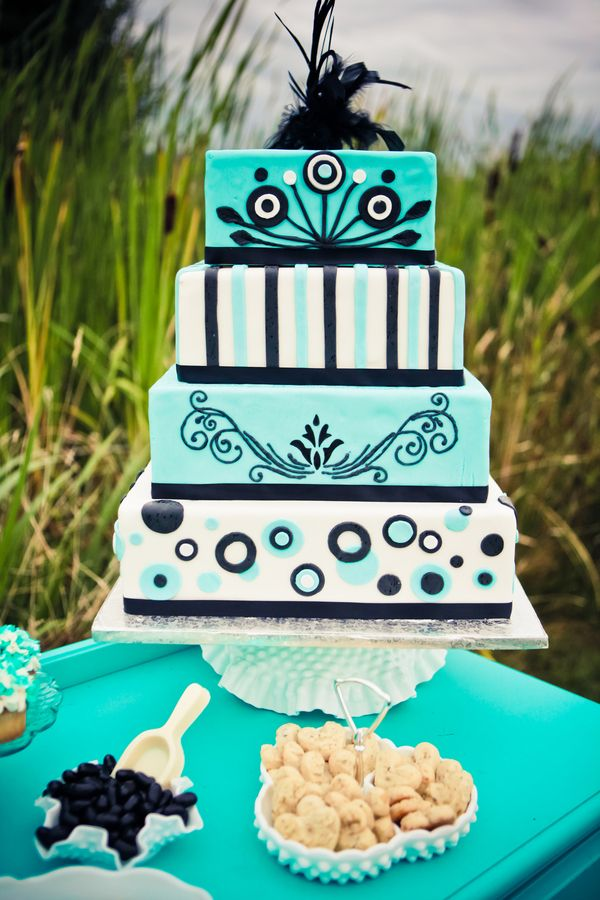 turquoise and black chevron wedding inspiration - super fun cake!