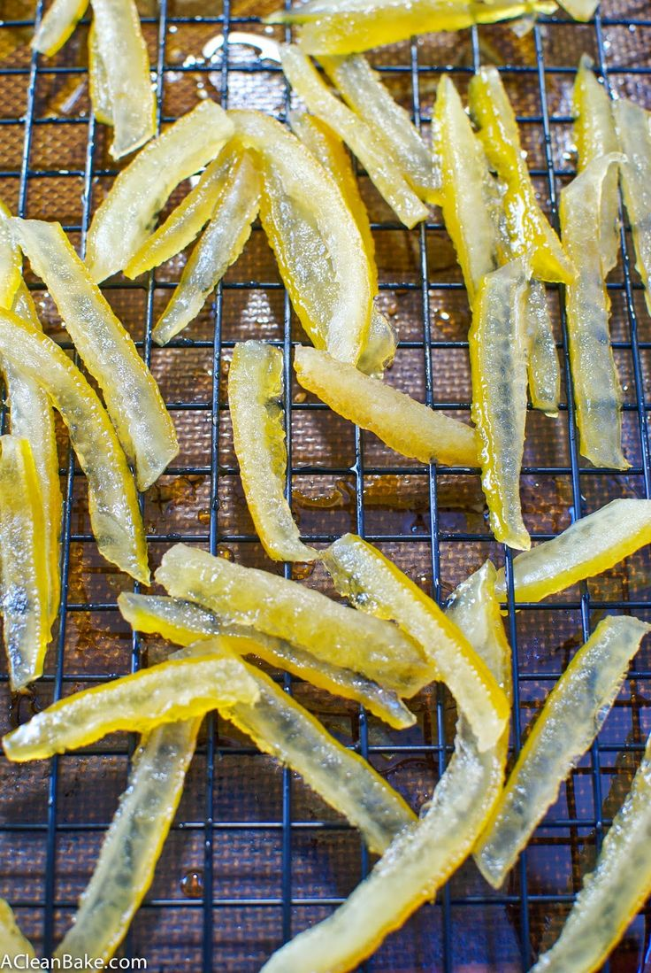 Naturally-Sweetened Candied Lemon Peels (and Lemon Simple Syrup) *DON'T boil the whole time, SIMMER. (I ended up with candied lemon hard candy... good, but not what i wanted!)