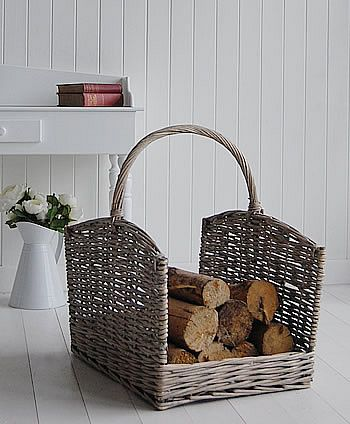 A wicker log basket from The White Cottage