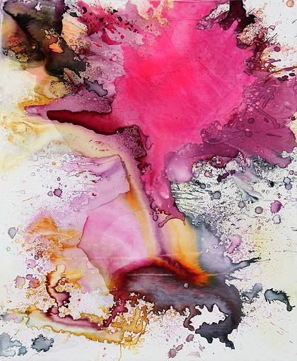 Série Colorful Explosion / Encre et résine Lorcolors / 80X100 cm / 2011 Artiste contemporaine couleur Abstract Art , watercolor