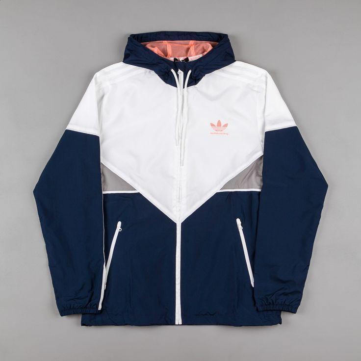 Adidas Premiere Windbreaker Jacket – Navy / White / Sun Glow – #adidas #glow #ja…