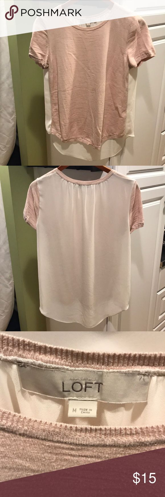 Top Great neutral top for work or going out. Looks great with dress pants or jeans. Front is soft pink and back is cream colored blousy material. Back is slightly longer than front for great coverage. LOFT Tops