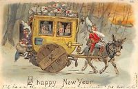 Fantasy New Year~Gnomes in Donkey Pulled Stage Coach~Money Bags~Gold Leaf Emboss