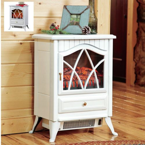 Electric-Stove-Heater-Fireplace-Portable-White-Mini-Wood-Effect-Home-Decor-Dorm