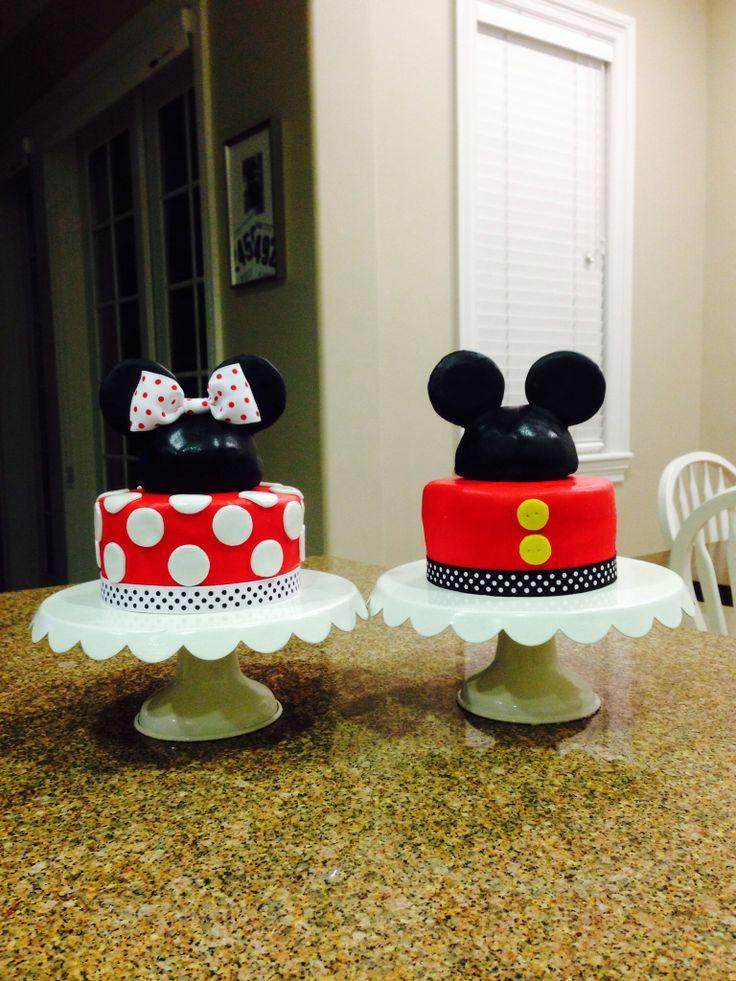 Twins. Mickey and Minnie Mouse Disney birthday Cake.